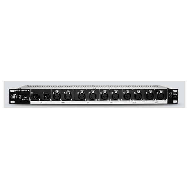 CHAUVET Data Stream 4 Universal, optical DMX splitter provides 4 outputs from a single input front view with all plugs shown