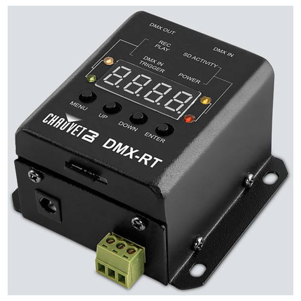 CHAUVET DMX-RT DMX recording device with triggerable playback from DMX or the phoenix connectors top/right view showing all buttons and screen