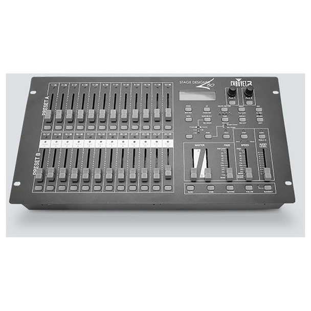 CHAUVET Stage Designer 50 DMX controller for LED Par fixtures and relay/dimmer packs top view of console with all controllers shown