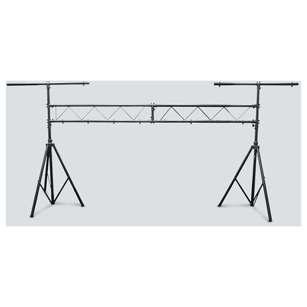 CHAUVET CH-31 Portable Trussing with T-Bars front view with 2 tripod stands and extended length between them connected with 2 bars and T bars above