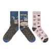 SOXO (With History) Women's Cat&Mouse Socks (2 Pairs)