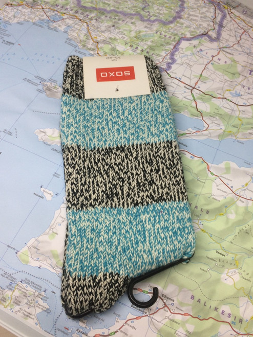 SOXO Melange Blue and Grey Socks (Pair)
