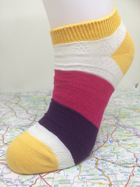 PPYC - Pier Polo ankle socks - yellow ankle socks - striped ankle socks - ladies socks - summer ankle socks - www.travelsocks.net