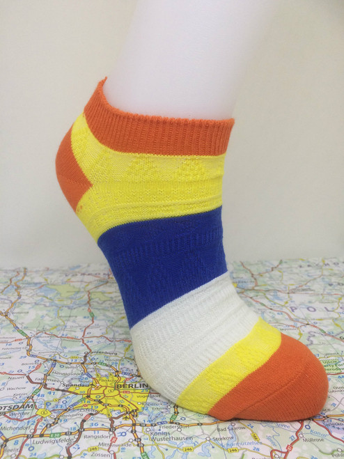 Pier Polo - Ankle Socks - Orangr ankle socks - striped ankle socks -  Multi Colour Ankle Socks (Orange Collar)