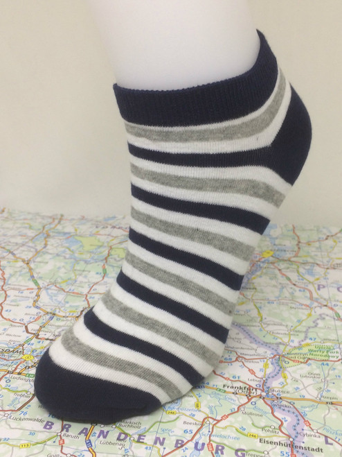 Marina Classics - Navy Blue Heels with Cream White, Grey and Navy Blue Stripes Ankle Socks