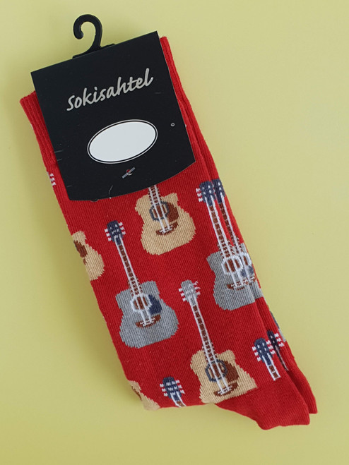 mens guitar socks print novelty uk
