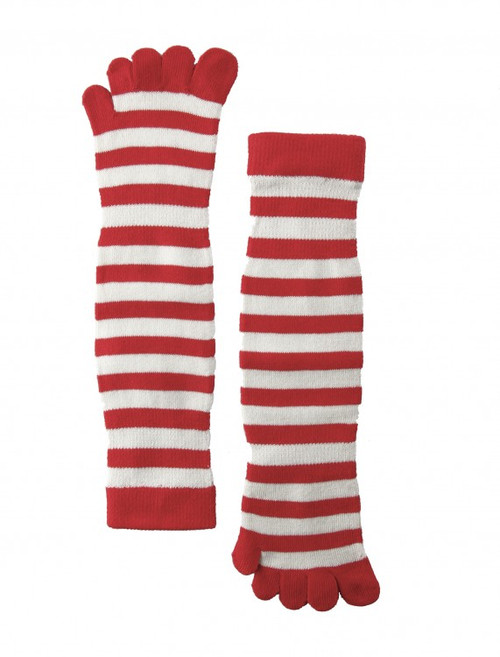 Women's Red and White Toe Socks (Pair) Red Striped Pattern