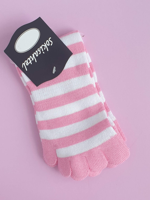 Women's Pink Toe-Socks (Pair) Pink and White Stripes