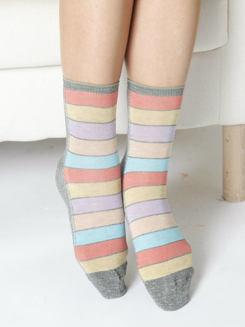 Women's Glitter Socks with stripes (Pair)