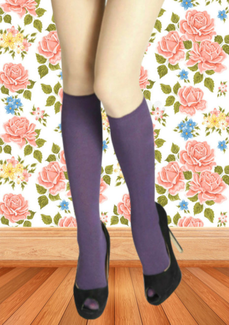 womens purple knee high socks uk