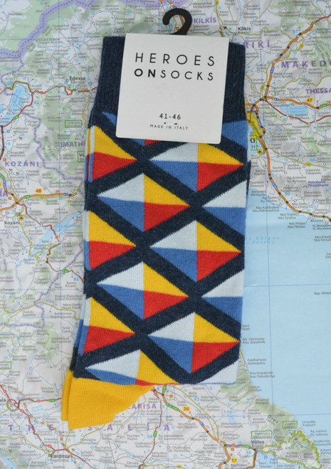 Men's funky office socks - bright colourful patterned socks