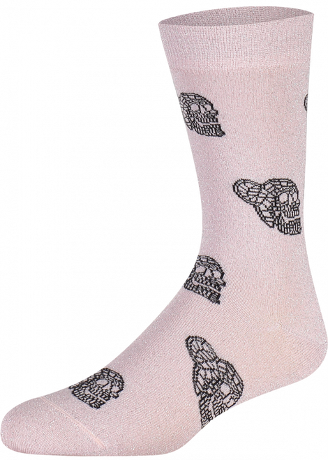 Women Glitter Skull Pink (Pair) - Heroes on Socks - Skull socks