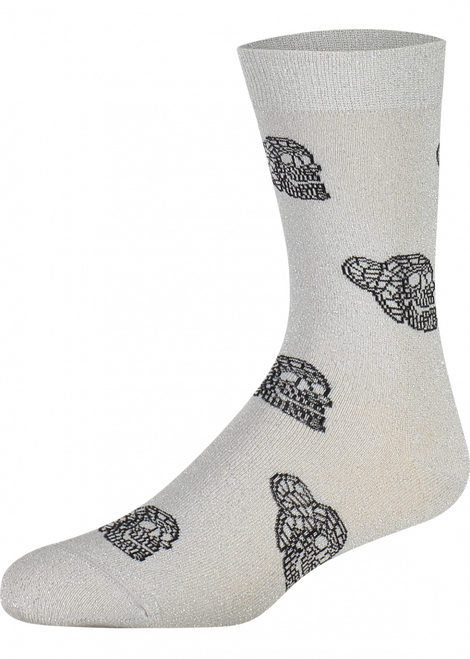 Silver glitter socks - Ladies Silver Glitter Skull Socks (Pair) - Heroes on Socks