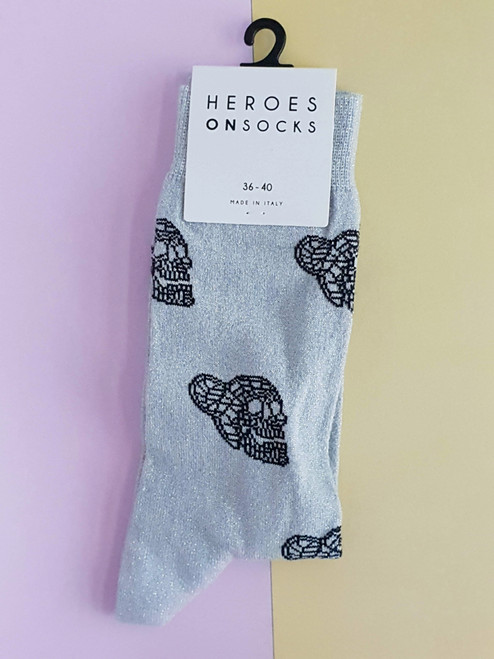 Ladies Skull Socks (Pair) - Silver Glitter - Heroesonsocks