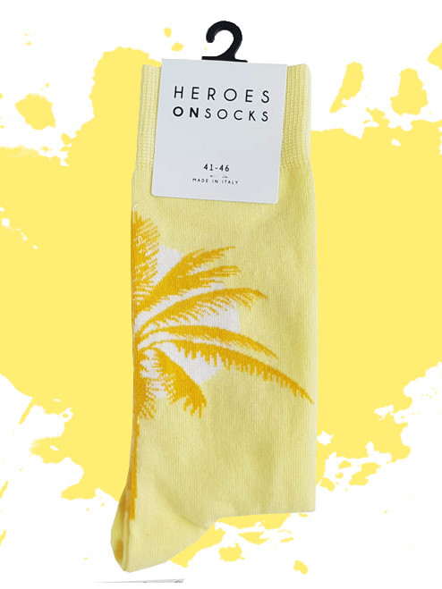 Men's Palm Tree Socks - Summer Yellow Socks (Pair) - Heroesonsocks