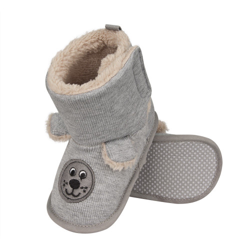 Infant High Boot Slippers with Dog's face and Ears - 0-24 Months - Grey