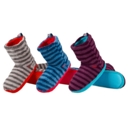 Ladies Slipper Boots Gorgeous Stripey Soft Terry Fleece (3 Colours and 2 Sizes)