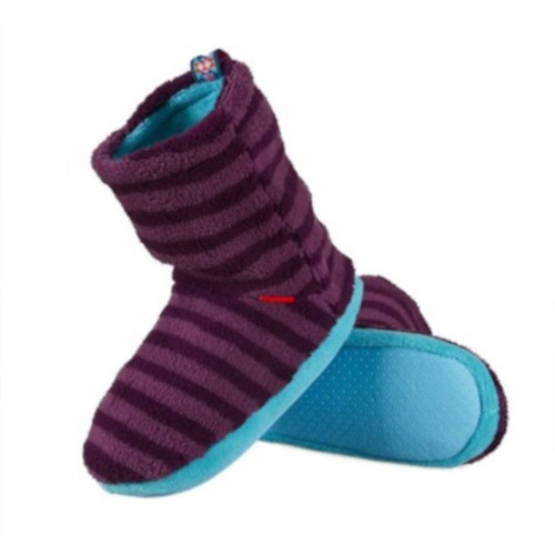 Ladies Stripey Soft Slipper Boots