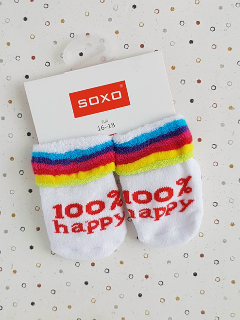 100% Happy Infant Socks (Pair) Striped Collar