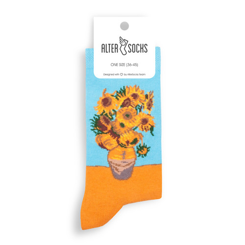Vincent Van Gogh Socks (Pair) Fun Novelty Van Gogh Sunflowers Gift Socks