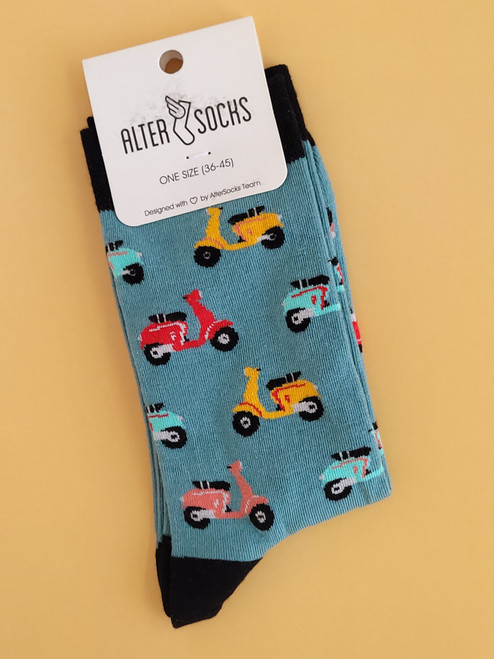 Scooter Socks (Pair) Fun Novelty Socks Moped socks (Unisex)
