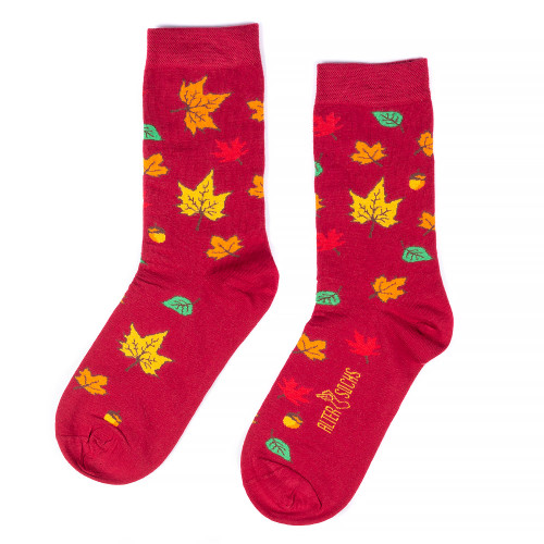 Autumn Leaves Socks Dark Red uk
