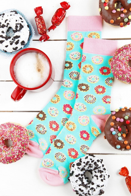Women's Donut light blue cotton socks