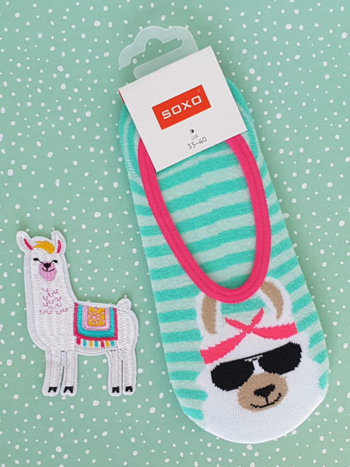 Ladies' llama Footie No Show ankle Socks