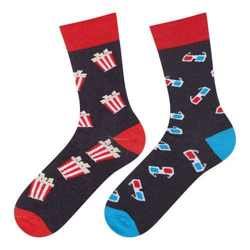 Men's Cinema Movie Socks (Pair) Fun Novelty Popcorn Film Socks