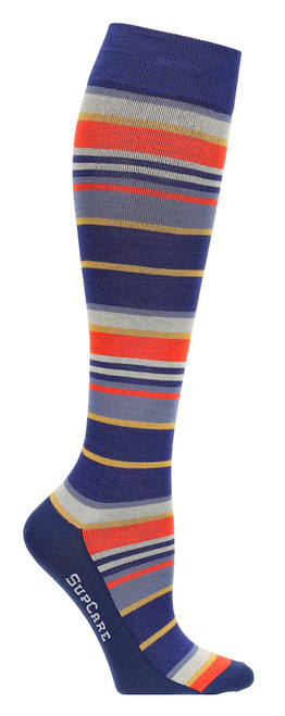 Compression stockings with bamboo fibers, red/blue