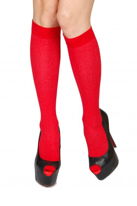 Red Cotton Knee-High Socks (Pair)