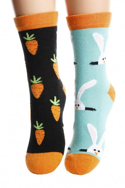 childrens Rabbit Socks (Pair) Fun Kids Bunny and Carrot Socks