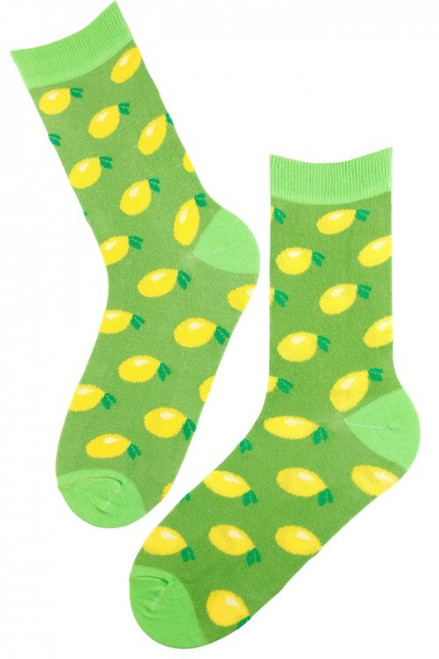 Women's Lemon Socks (Pair) Green Fun Novelty Fruit Socks