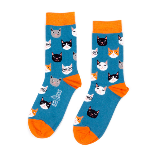Women's and Men's Cat Kitten Socks (Pair) Fun Novelty Cat Gift