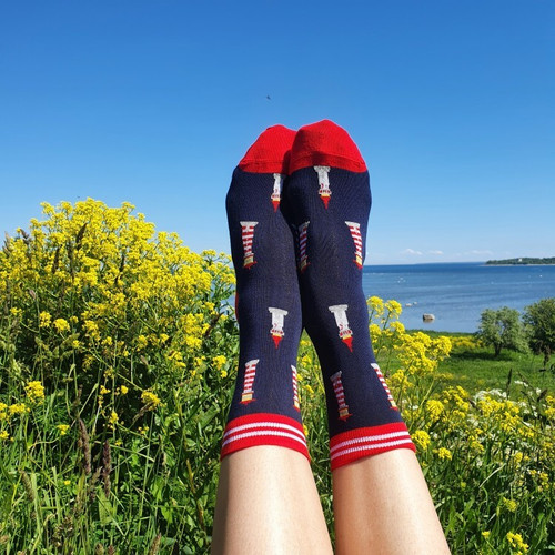 women's Lighthouse Socks (Pair) Lighthouse Print