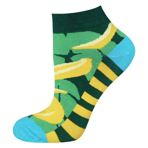 en's Banana Ankle Socks (Pair) Colourful Mushroom Print