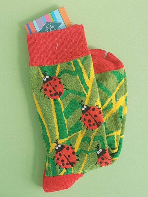 Women's Ladybird Socks (Pair) Insect Print uk