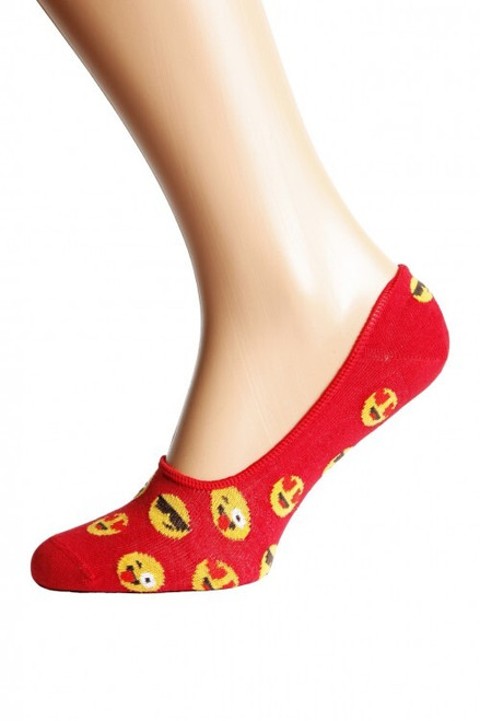 Women's Emoji Smiley Socks (Pair) Fun Print Ankle Socks UK sock shop