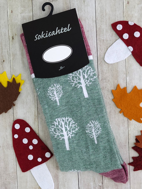 Men and Womens Tree Print Socks (Pair)