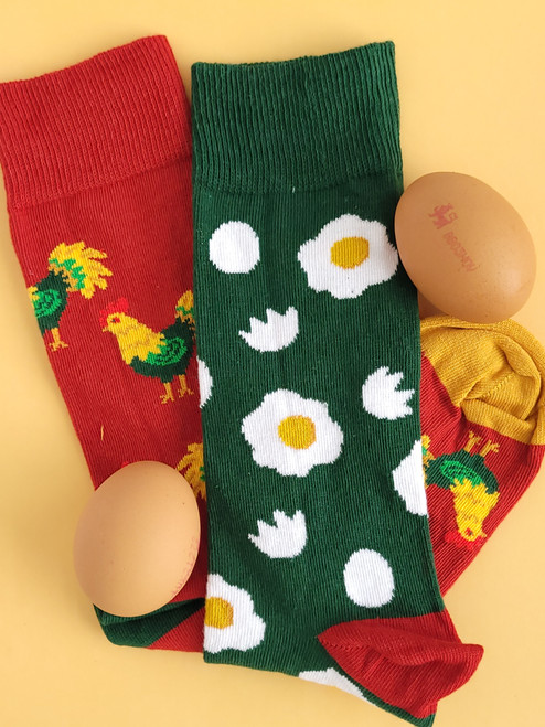 Men's Chicken and Eggs Socks (Pair) Novelty Animal Socks