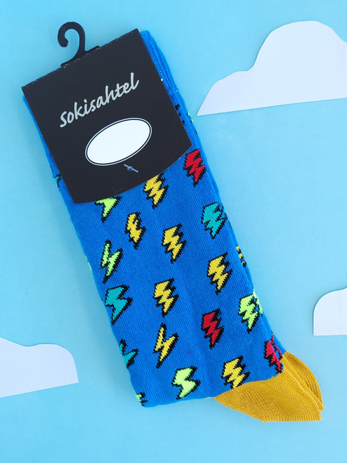 mens fun novelty socks thunder lighning