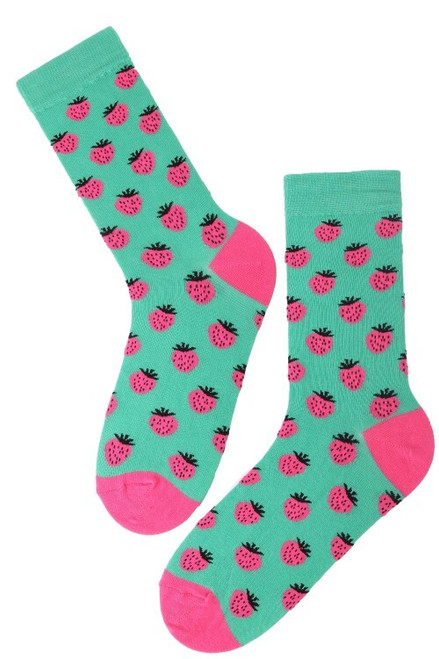 Men's Strawberry Socks (1 Pair) Fruit Print