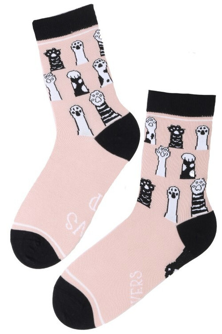 Women's Cat Kitten Socks (Pair) - Pink Paws Up