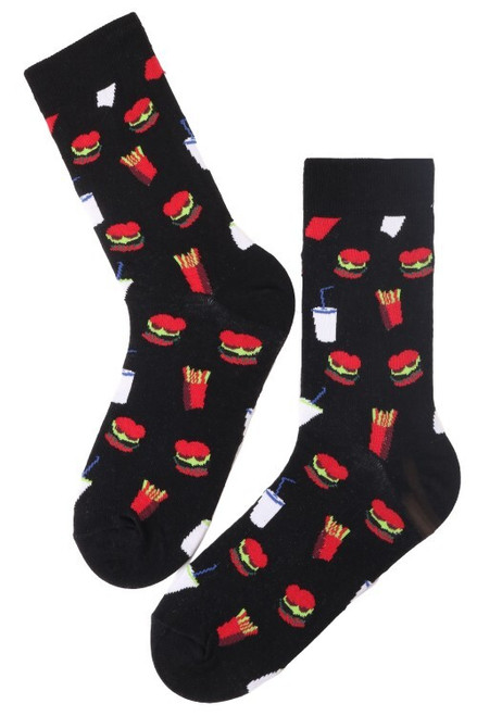 Men's Fast Food Socks (1 Pair) Fries, Milkshakes and Burgers