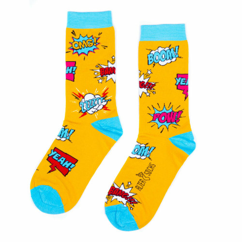 Comic Book Socks (Pair) Fun Novelty Comic Book Gift