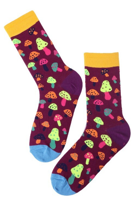 Mens Colourful Mushroom Print Socks