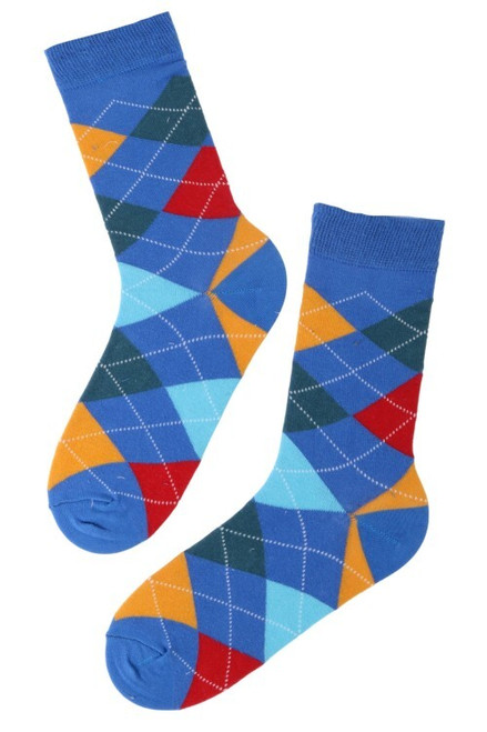 Men's Blue Colourful Argyle Socks (Pair)
