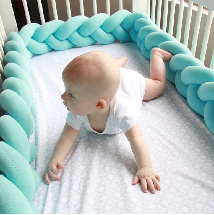 2M Green Baby Bumper Bed Braid Knot