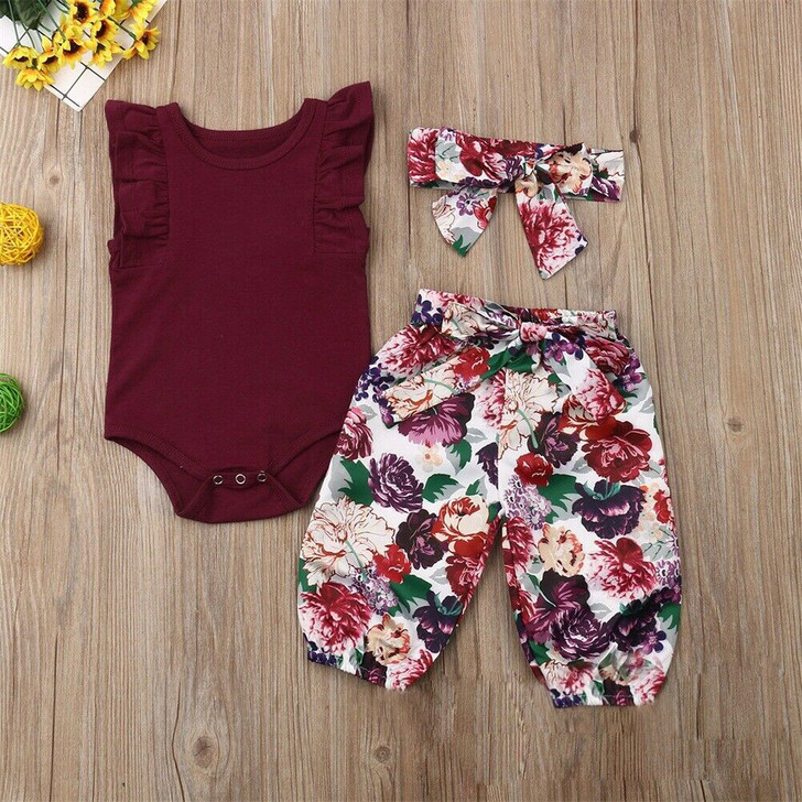 3Pcs Wine Red Outfits Ruffle Romper Floral Pants Headband