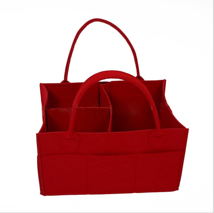Red Felt Foldable Baby Bag Organizer